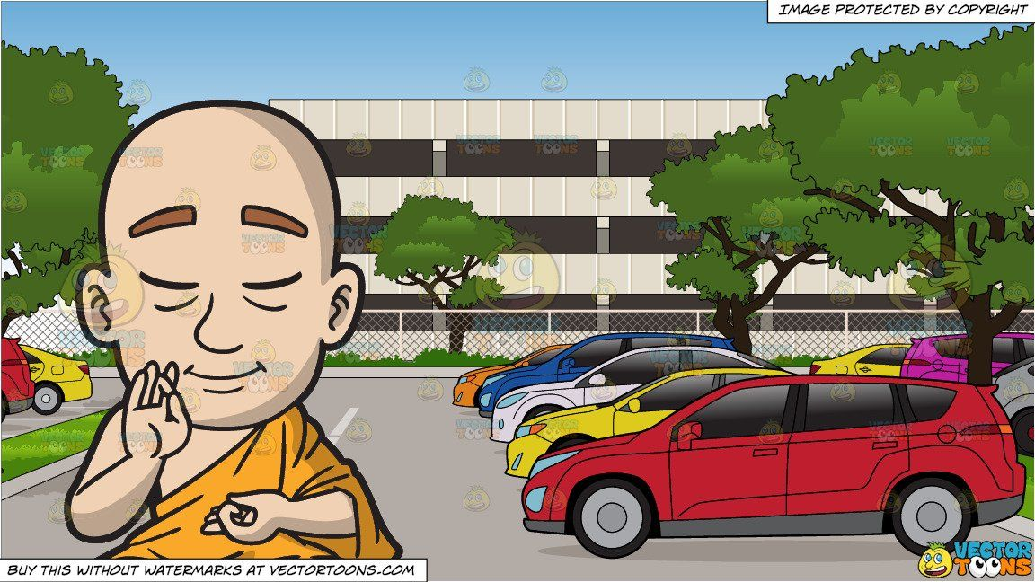 Control parking clipart cartoon graphic royalty free library A Meditating Buddhist Monk and A Full Parking Lot At An Office ... graphic royalty free library