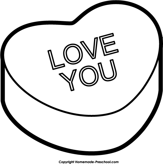 Conversation hearts clipart free banner freeuse stock Candy heart clipart black and white - ClipartFest banner freeuse stock