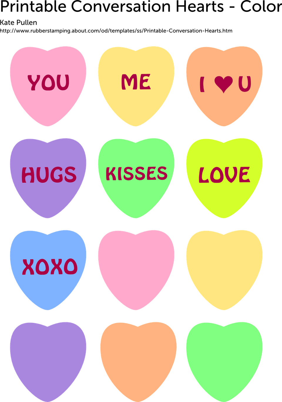 Conversation hearts clipart free free download Free Printable Conversation Hearts for Valentine's Day free download