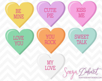 Conversation hearts clipart free graphic free library Conversation hearts clip art - ClipartFest graphic free library