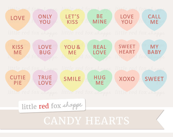 Conversation hearts clipart free vector royalty free download Candy heart clipart | Etsy vector royalty free download