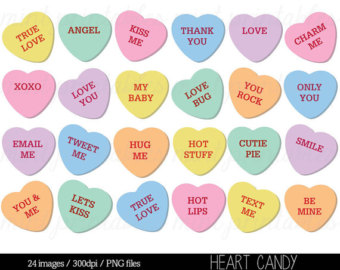 Conversation hearts clipart free clip royalty free stock Conversation Heart Clipart - Clipart Kid clip royalty free stock