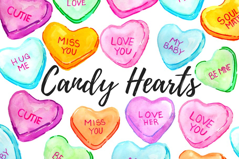 Candy hearts clipart banner transparent download Valentines Candy Hearts Clipart banner transparent download