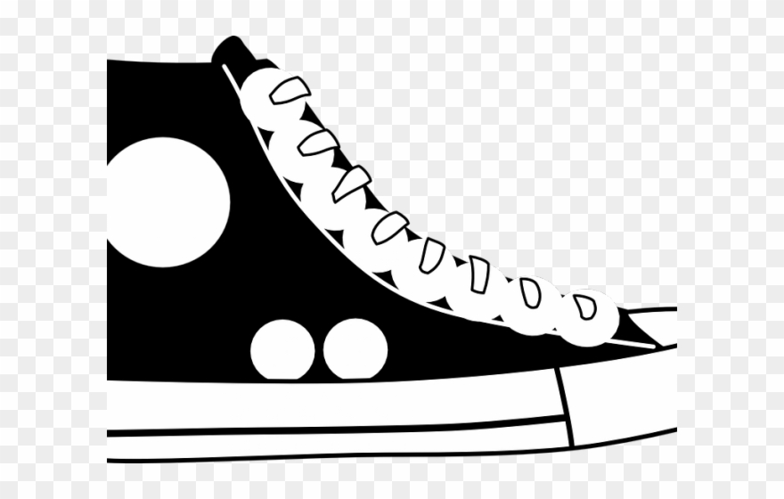 Converse clipart black and white graphic download Shoe Clipart Converse - Blue Shoe Clipart - Png Download (#1455195 ... graphic download
