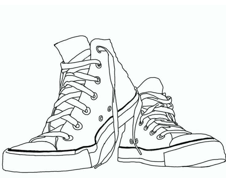Converse clipart black and white picture transparent download Chuck Taylor Sneaker Clipart #1   Education   Contour line drawing ... picture transparent download