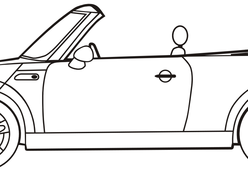 Convertible car clipart black and white vector Clipart - mini convertible vector
