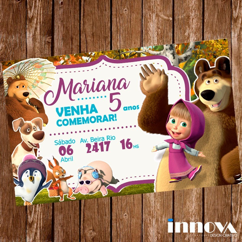 Convite masha eo urso clipart png free stock Arte Digital Convite Digital Aniversario Masha E O Urso png free stock