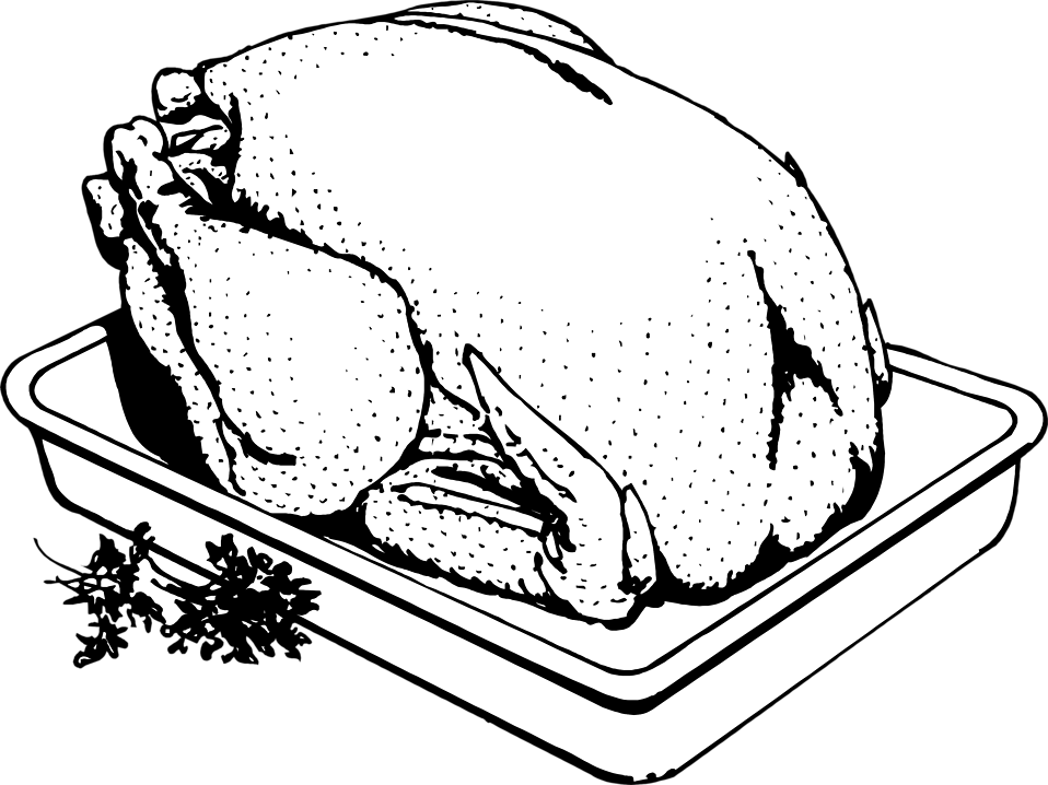 Cooked turkey clipart black and white image royalty free Turkey | Free Stock Photo | Illustration of a turkey cooking in a ... image royalty free