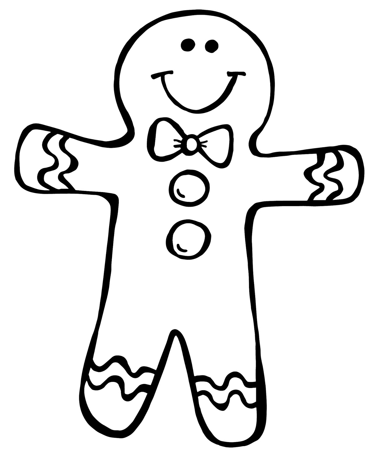 Gingerbread man outline clipart black and white