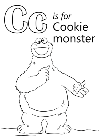Cookie monster c is for cookie clipart png library download Letter C is for Cookie Monster coloring page | Free Printable ... png library download