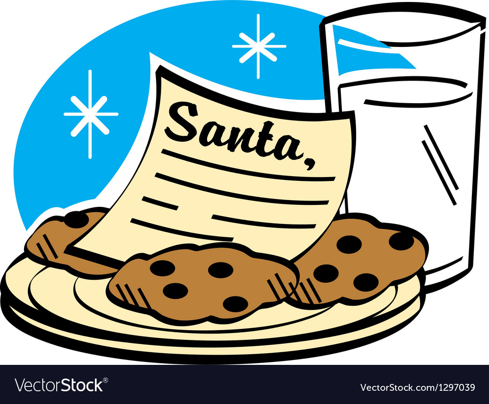 Cookies and milk for santa clipart
