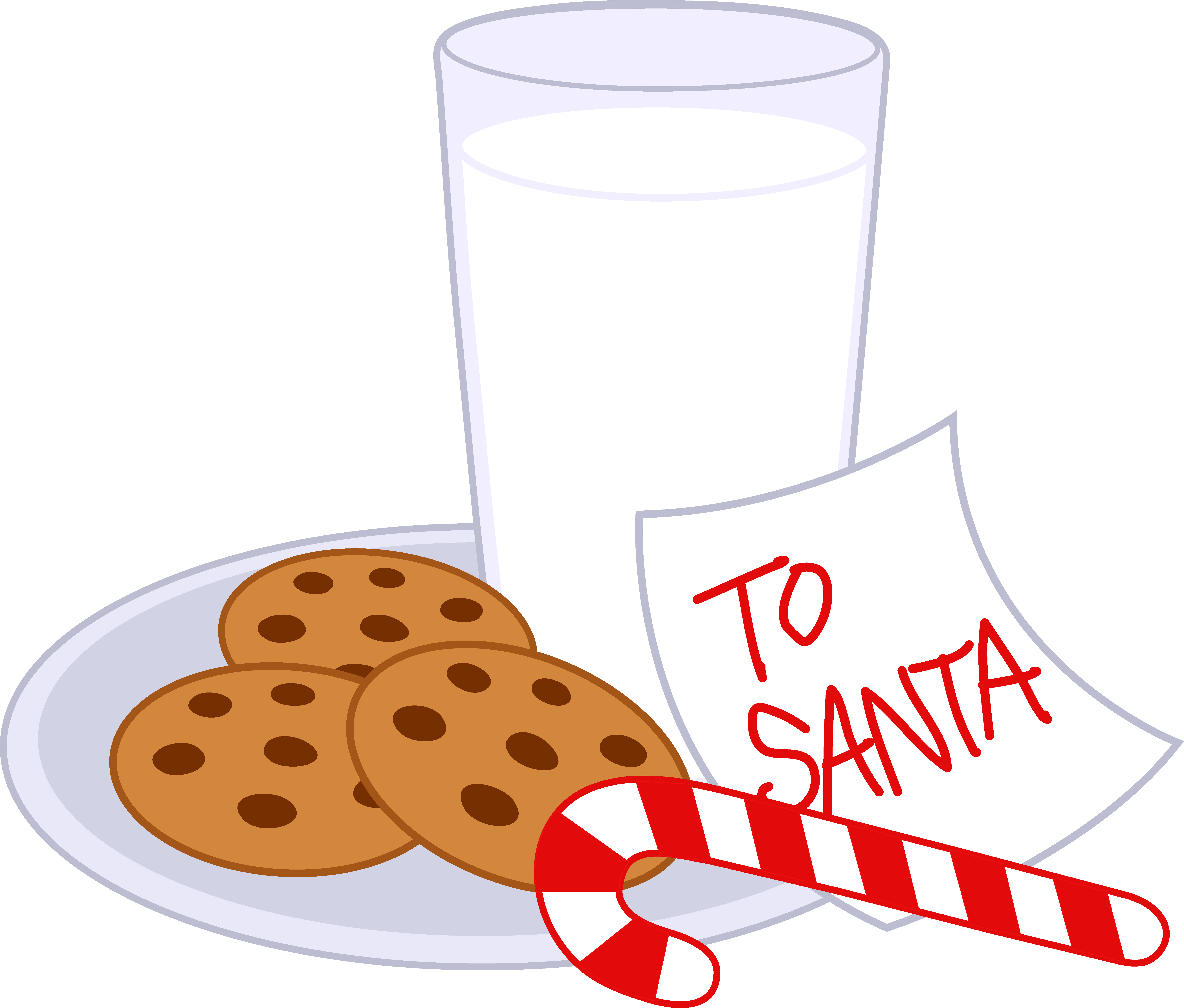 Cookies and milk for santa clipart image black and white Cookies and Milk For Santa Claus - Free Clip Art image black and white