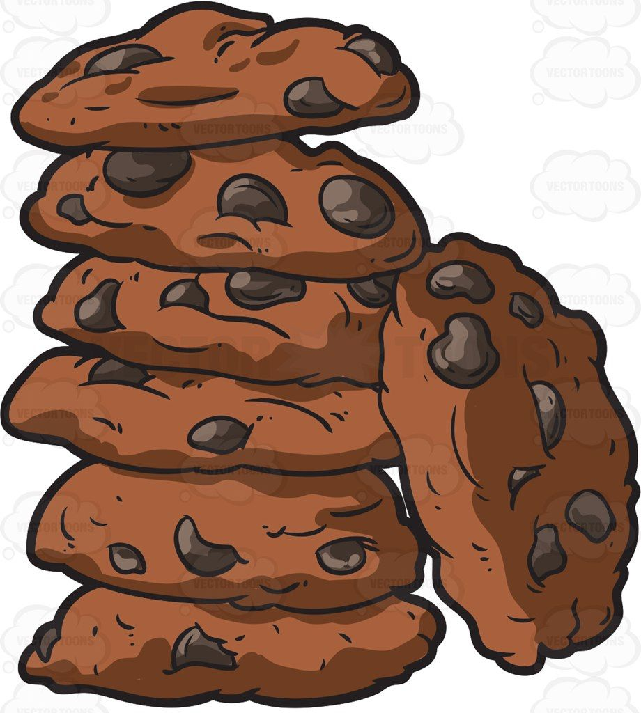 Cookies clipart vector jpg royalty free stock A stack of chocolate chip cookies #cartoon #clipart #vector ... jpg royalty free stock