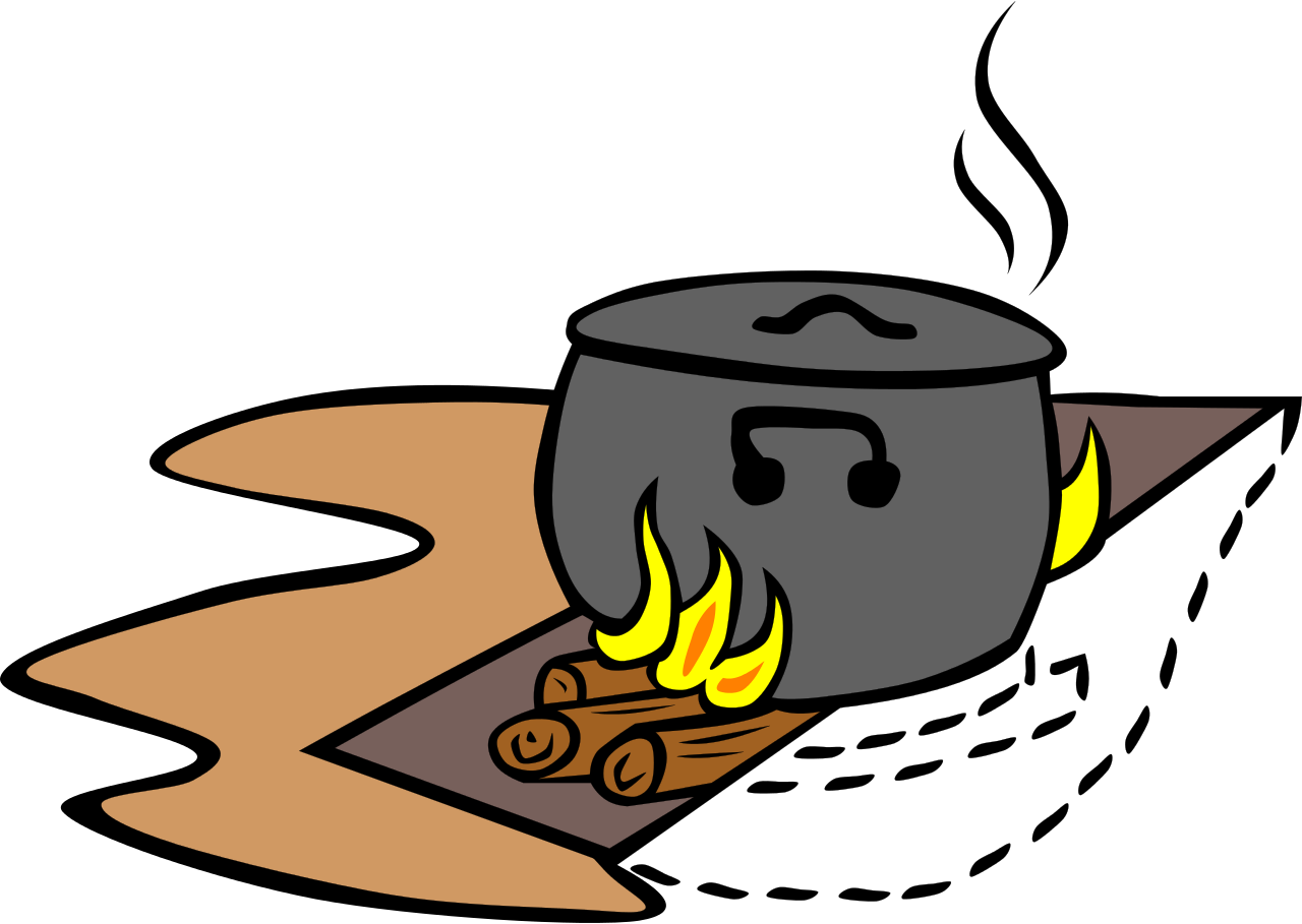 File camp trench fire. Fish cooked clipart