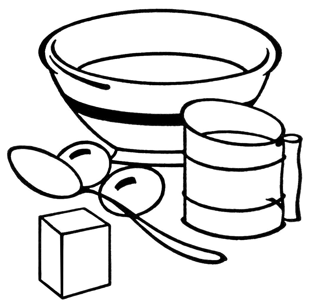 Cooking bowl clipart graphic free library This vintage clipart features some baking equipment: a mixing bowl ... graphic free library