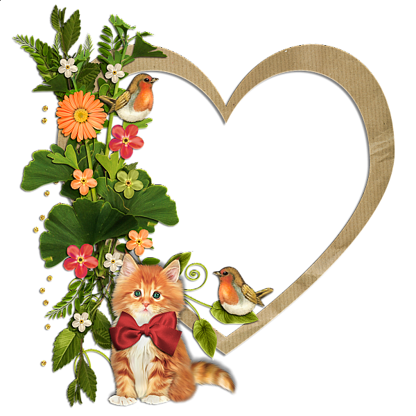 Cooking cat clipart graphic transparent download Kitty Birds and Flowers Heart Transparent Frame | alternatives ... graphic transparent download