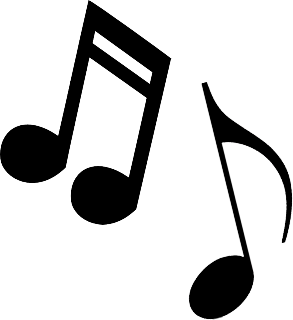 Coloring note clip art. Free black and white clipart of music notes