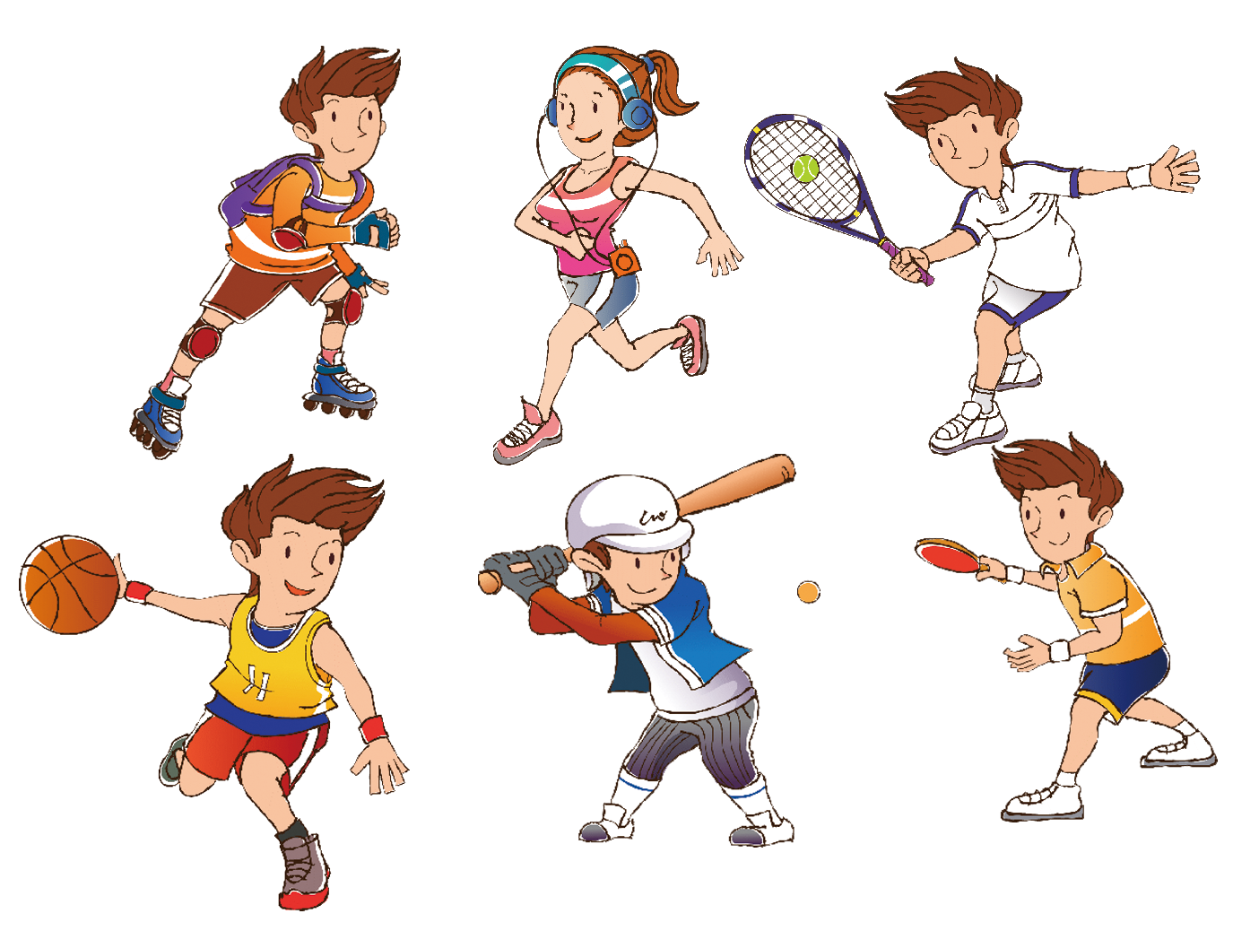 Cool cartoon character with basketball clipart svg free stock Cartoon Sport Athlete Clip art - Cartoon athletes 1404*1038 ... svg free stock