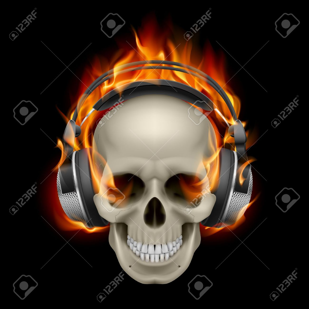 Illustration of wearing headphones. Cool flaming skull clipart