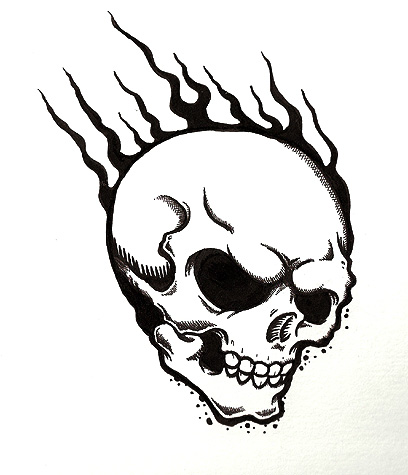With flames tattoo best. Cool flaming skull clipart