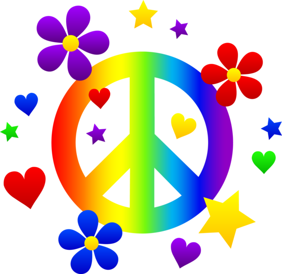 World piece sign clipart png free library Free clip art of a rainbow peace sign with hearts, stars, and ... png free library