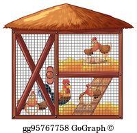 Coop clipart jpg library stock Chicken Coop Clip Art - Royalty Free - GoGraph jpg library stock