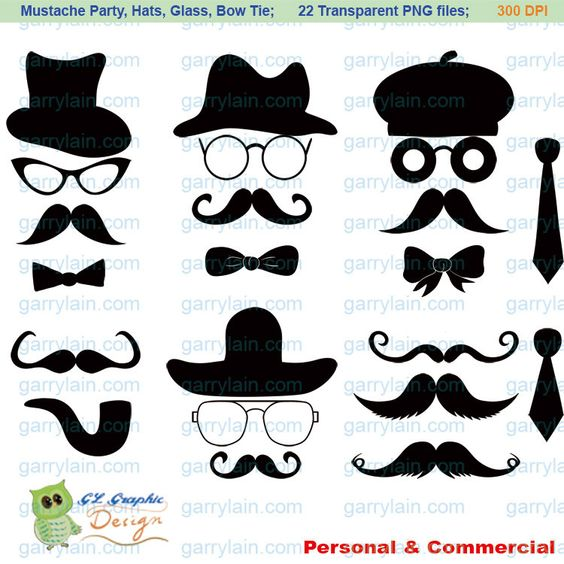 Copyright free clipart for commercial use image royalty free download Mustache clip art, digital Mustache clipart, Silhouette hat ... image royalty free download