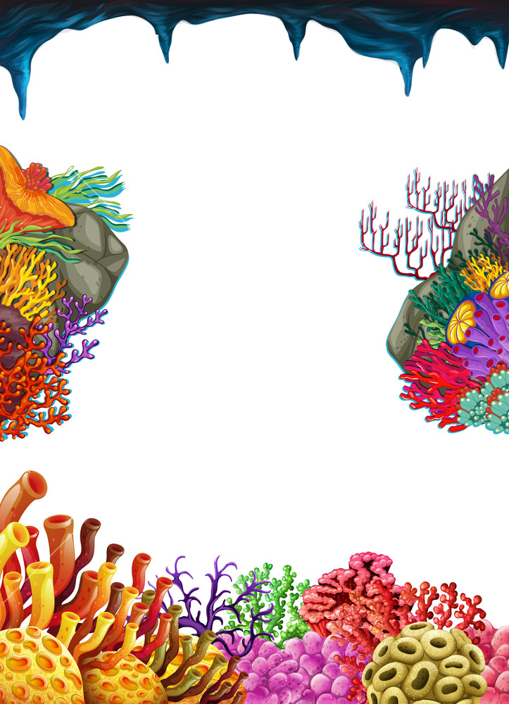 Coral border clipart clip transparent stock Border template with coral reef underwater Royalty-Free Stock Image ... clip transparent stock