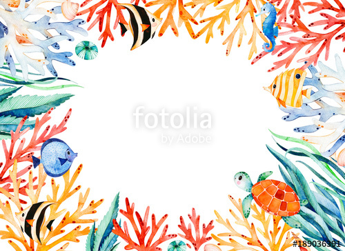 Coral border clipart black and white stock Oceanic watercolor frame border with cute turtle,seaweed,coral reef ... black and white stock