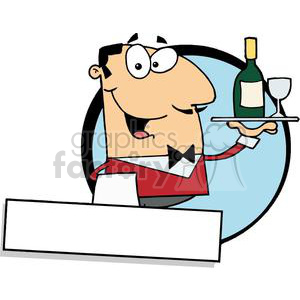 Cordial clipart graphic freeuse library Banner Of A Cordial Male Butler Serving Wine clipart. Royalty-free clipart  # 379150 graphic freeuse library