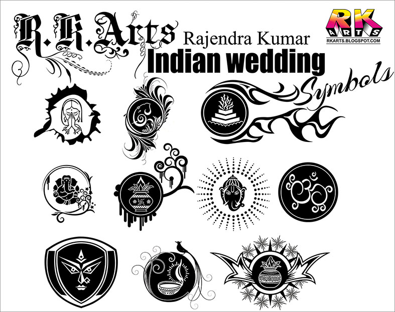 Indian wedding clipart cdr file free download picture transparent Indian Traditional Wedding Symbols with Decorative ornaments ... picture transparent