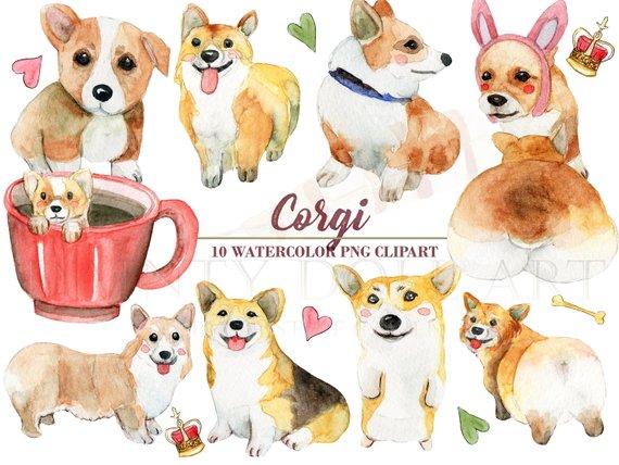 Corgi christmas hat clipart clip art transparent stock Corgi Clipart Watercolor Dog Welsh Corgi Butt Puppy Pet ... clip art transparent stock