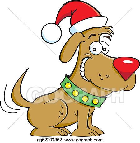 Corgi christmas hat clipart svg royalty free library Vector Art - Santa dog. Clipart Drawing gg62307862 - GoGraph svg royalty free library