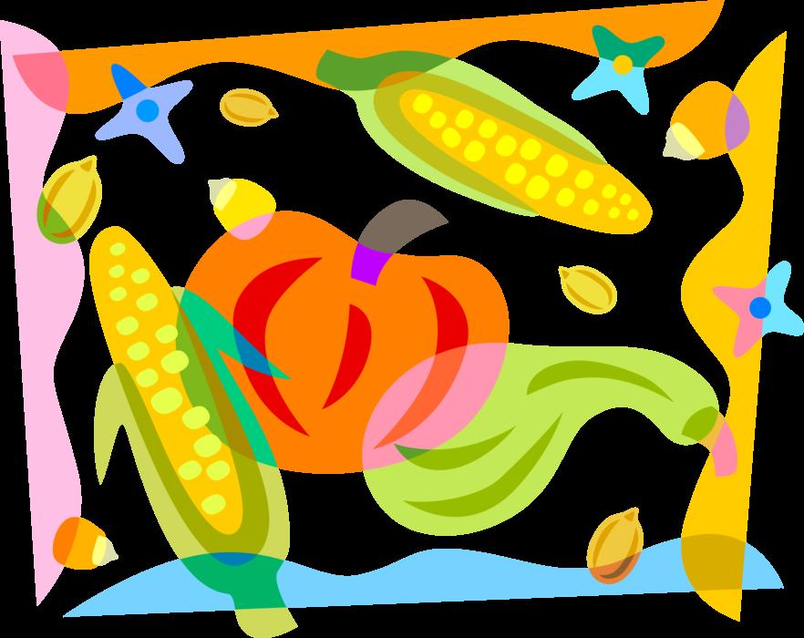 Corn pumpkin squash clipart download Fall Autumn Harvest Pumpkin with Corn - Vector Image download