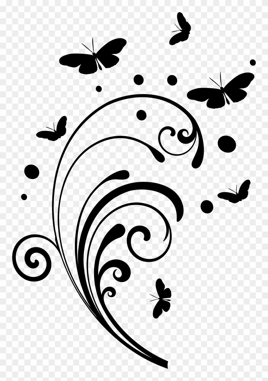 Corner butterflies clipart black and white library Butterfly Design Clipart Simple - Black And White Swirls Png ... black and white library