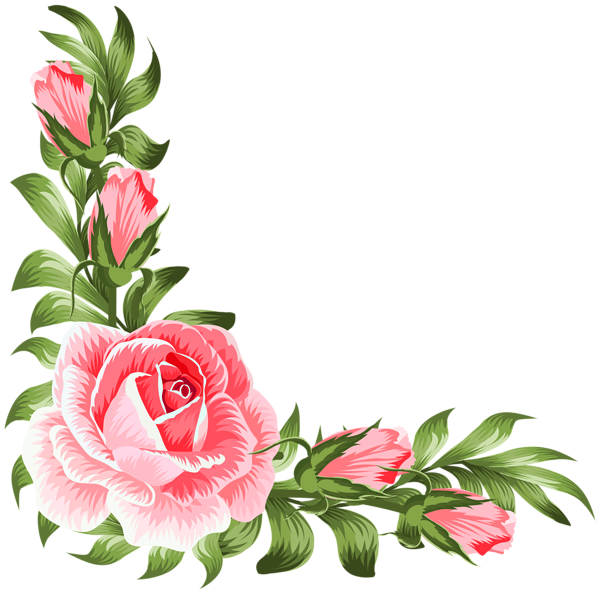 Corner flower clipart clipart black and white stock Rose Corner Decoration PNG Clip Art | Gallery Yopriceville - High ... clipart black and white stock