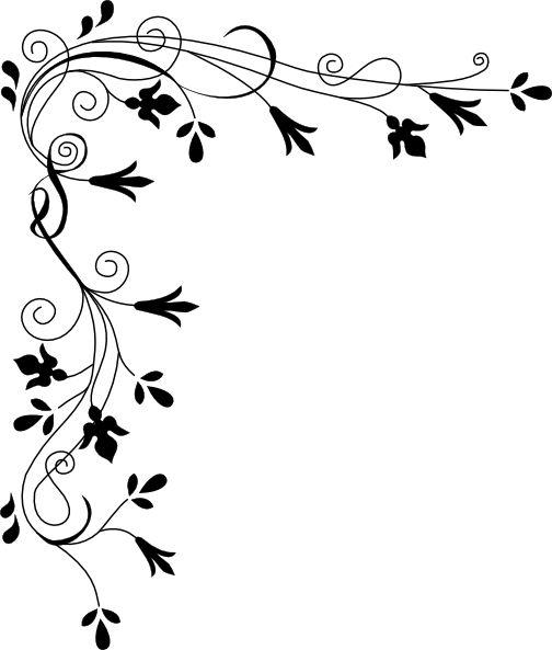 Corner patterns clipart. Decorative plant page clip
