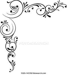 Flower border clip art. Corner patterns clipart