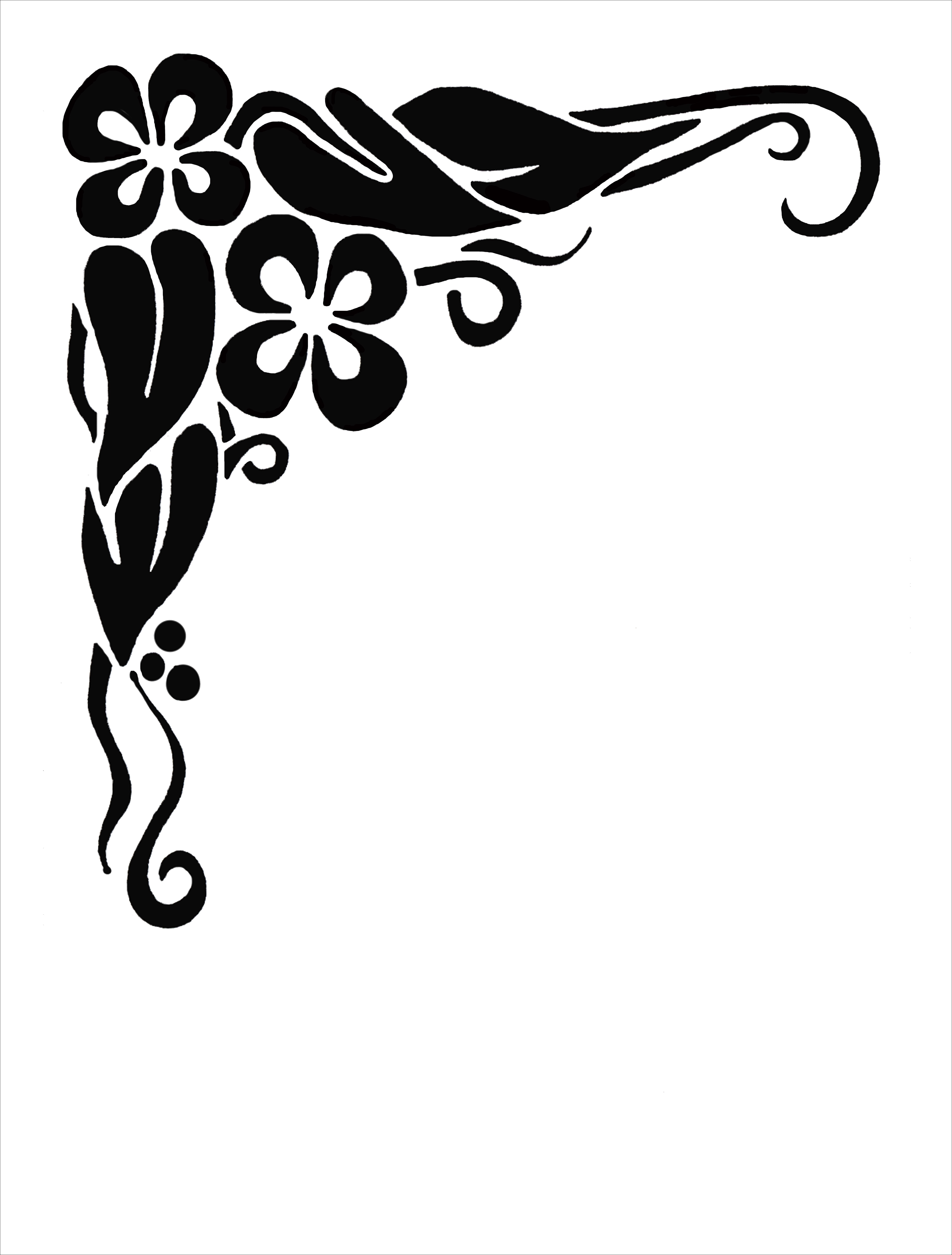 Plants decoration acents clipart black and white graphic library Fancy Corner Clipart | Free download best Fancy Corner Clipart on ... graphic library