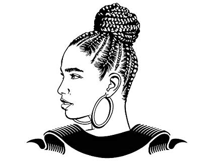 Black person with black braids hair clipart png library download Amazon.com: EvelynDavid Black Woman Braids Hairstyle Stylish ... png library download