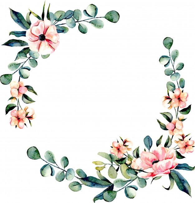 Rosas verdes clipart clip art royalty free download Flores cor-de-rosa com coroa de flores e ramos de eucalipto | Baixar ... clip art royalty free download