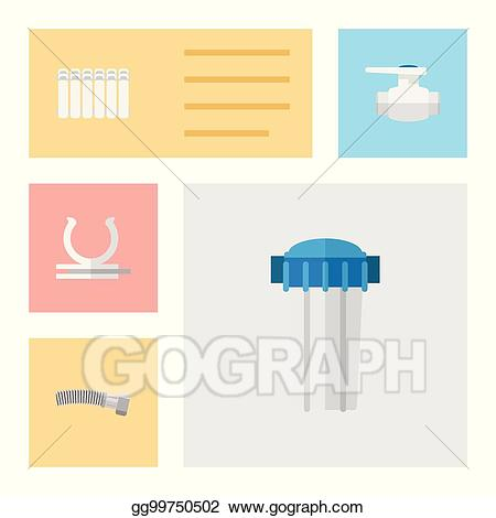 Corrugated pipe clipart vector royalty free Vector Stock - Flat icon plumbing set of flange, corrugated pipe ... vector royalty free