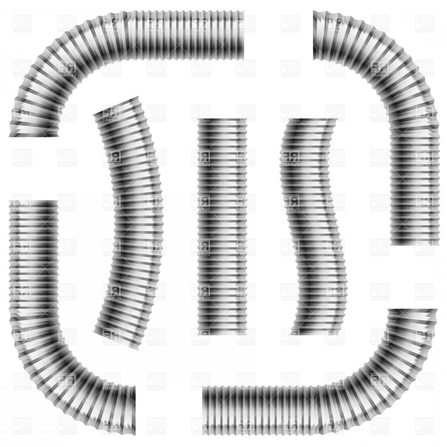 Corrugated pipe clipart picture transparent Set Of Gray Corrugated Drain Pipes Vector Clipart | SOIDERGI picture transparent