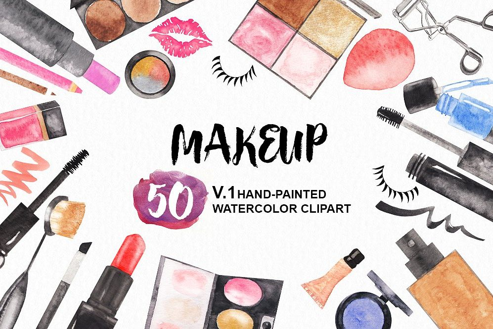 Cosmetic clipart clip free library Watercolor Makeup Cosmetics Set, makeup clipart, cosmetic clip free library