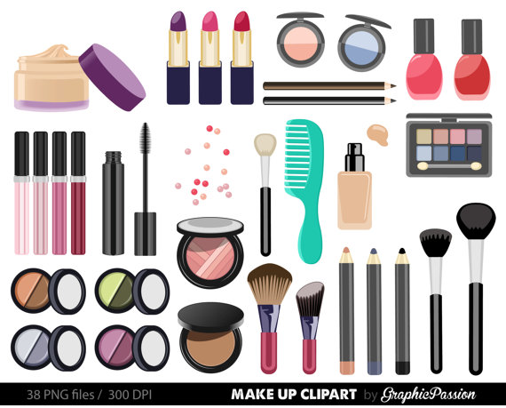 Cosmetic clipart vector freeuse download Make up Collection Digital Clipart Beauty Clipart Cosmetic clipart ... vector freeuse download