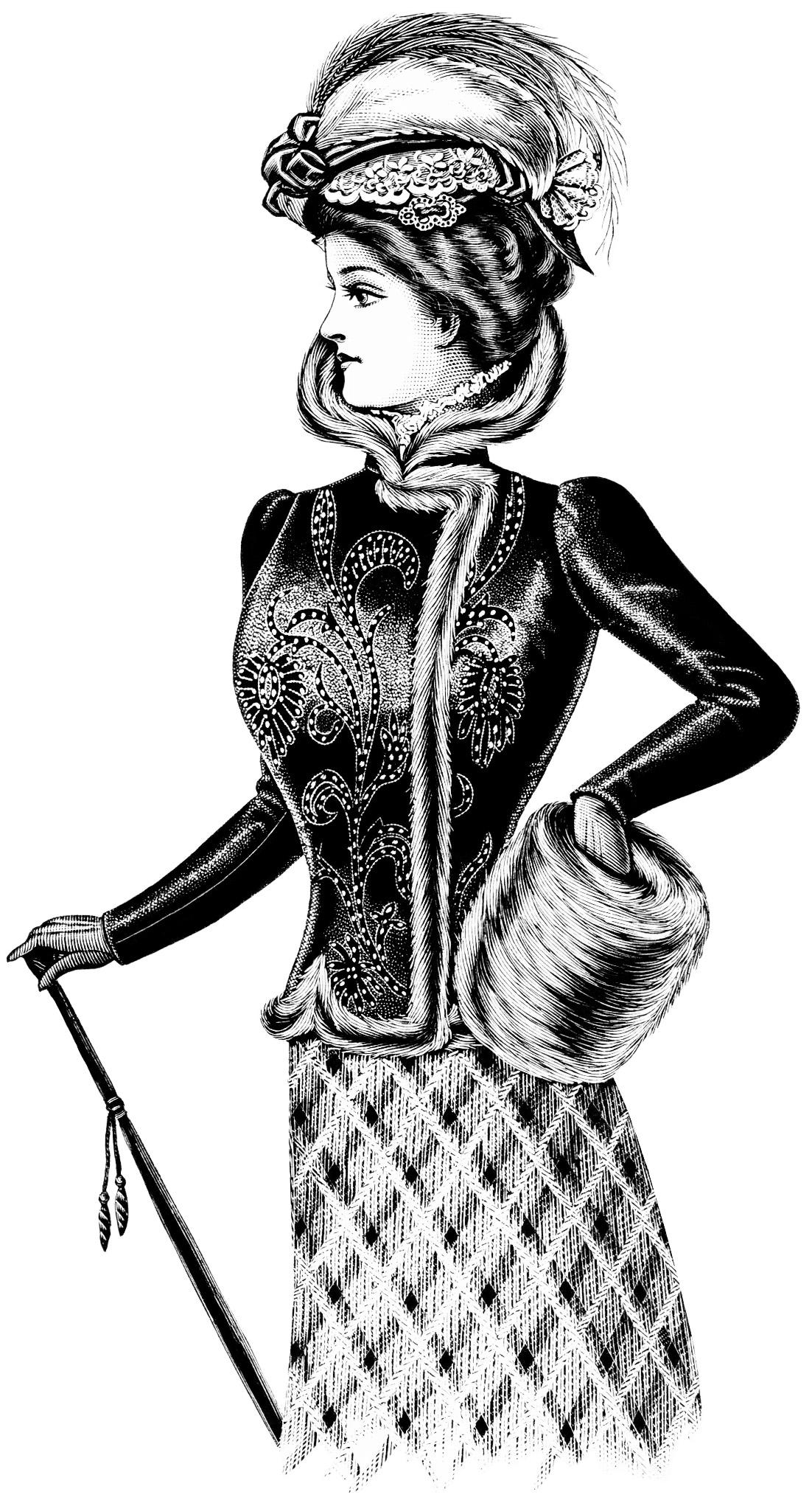 Costume designer logo black and white clipart. Victorian lady clip art