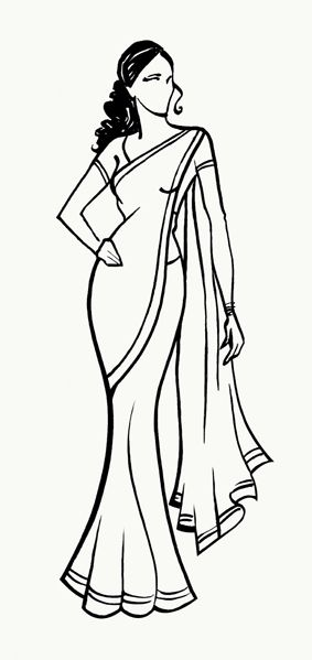 Costume designer logo black and white clipart vector black and white download Sari clipart black and white - ClipartFest vector black and white download