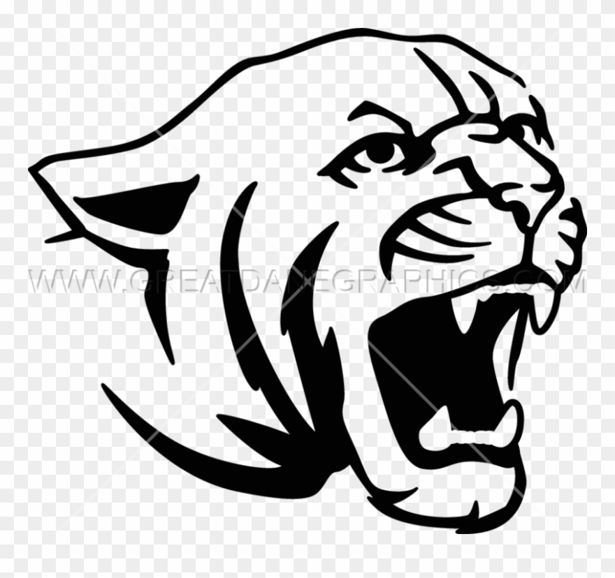 Cougar cartoon black and white body clipart easy