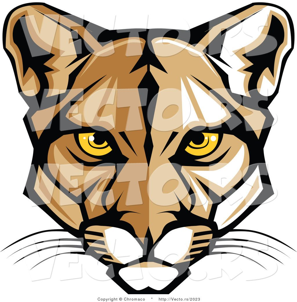 Cougar cartoon black and white body clipart easy clip library stock Vector of a Cartoon Cougar Face with Yellow Eyes by Chromaco - #2023 ... clip library stock