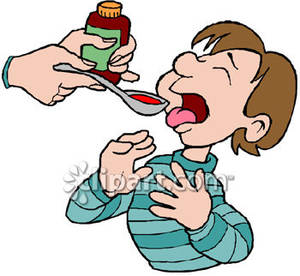 Cough syrup clipart svg transparent download Cartoon of a Little Boy Taking Cough Syrup - Royalty Free Clipart ... svg transparent download